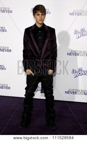 Justin Bieber at the Los Angeles premiere of 'Justin Bieber: Never Say Never' held at the Nokia Theatre L.A. Live in Los Angeles on February 8, 2011.