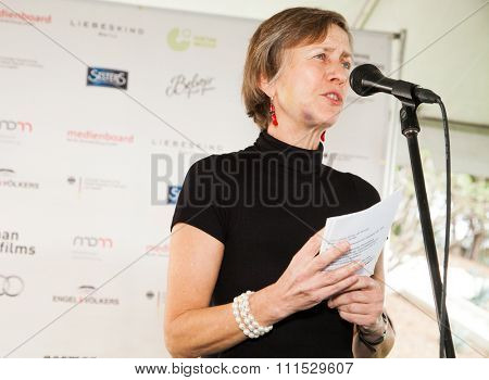 Mariette Rissenbeek at the German Films and the Consulate General of the Federal Republic Of Germany's German Oscar nominees reception held at Villa Aurora in Pacific Palisades on February 21, 2015.