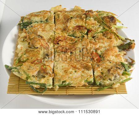 Korean style pancake or pizza, traditional Korean food Jeon
