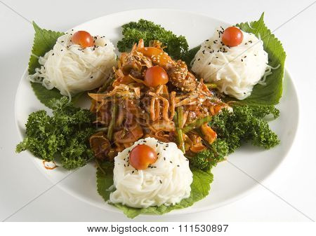 Spicy whelk with vegetable and thin Noodles, Korea food cuisine