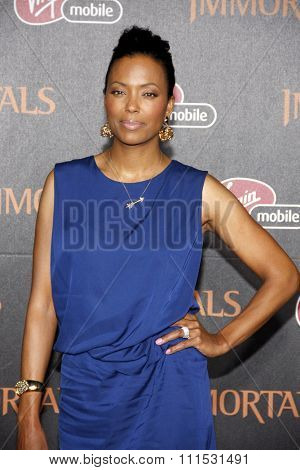Aisha Tyler at the Los Angeles premiere of 'Immortals 3D' held at the Nokia Theatre L.A. Live in Los Angeles on November 7, 2011.