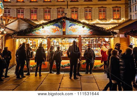 Busy Christmas Market Christkindlmarkt In The City Of Strasbourg