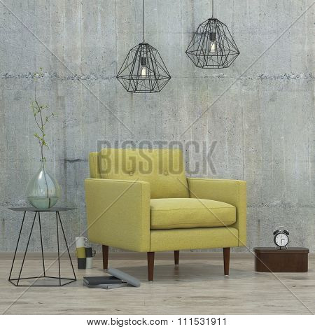 Loft Interior Room With Lamps And Yellow Sofa, 3D