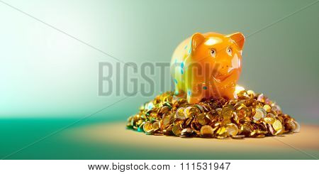 Piggy Bank With Large Stack Of Money