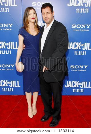 Jackie Sandler and Adam Sandler at the Los Angeles premiere of 'Jack And Jill' held at the Regency Village Theatre in Westwood on November 6, 2011.