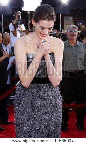 Anne Hathaway at the Los Angeles premiere of 'Get Smart' held at the Mann Village Theatre in Westwood on June 16, 2008.