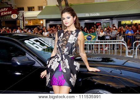 Selena Gomez at the Los Angeles premiere of Getaway held at the Regency Village Theatre in Westwood on August 26, 2013 in Los Angeles, California.