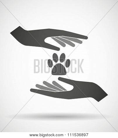 Two Hands Protecting Or Giving An Animal Footprint