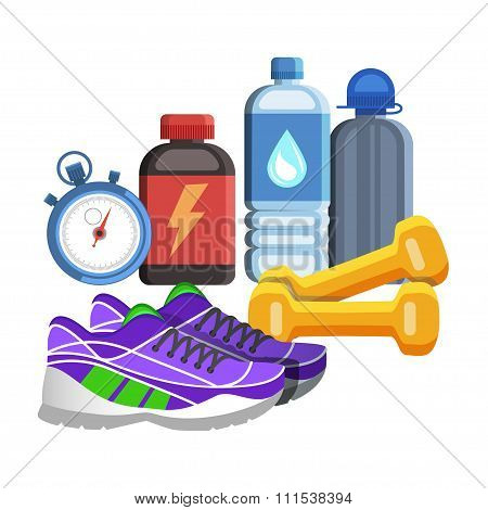 Sport Flat Icons, Jogging And Fitness Kit Elements. Sport Concept, Vector Illustration.