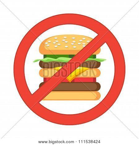Hamburger Danger Label. Fast Food, Unhealthy Eating, Junk Food Concept. Vector Illustration.