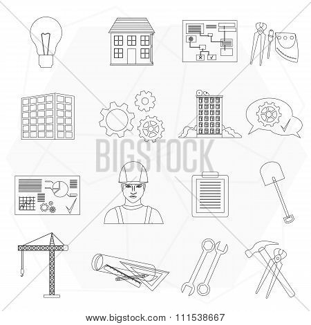 Builder worker construction thin line icons set isolated.
