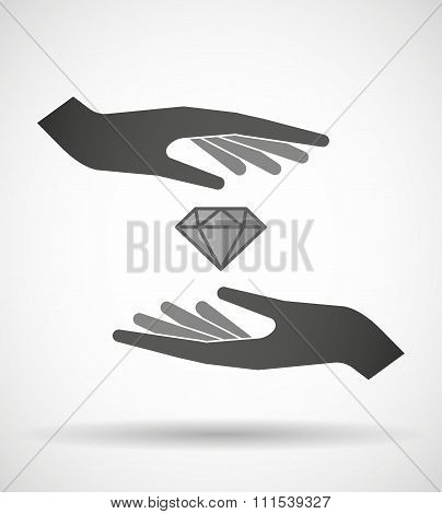 Two Hands Protecting Or Giving A Diamond