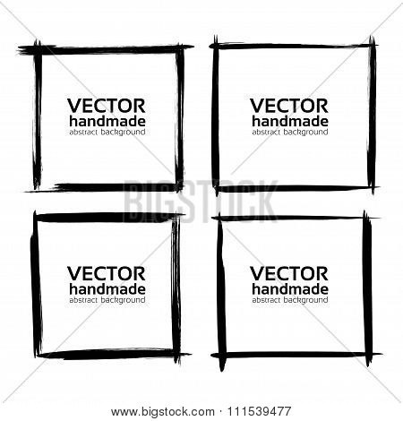 Frames  Banners  From Abstract Thin Smear Isolated On A White Background