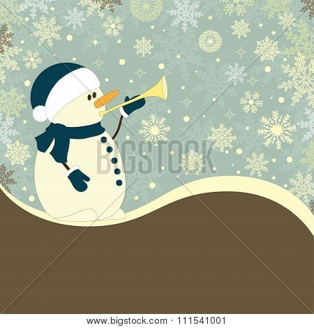 Christmas  Card With  Snowmen And Trumpet