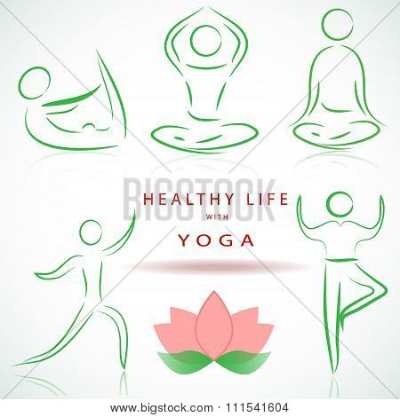 yoga, pilates set of vector symbols. Yoga positions silhouettes. eps10 vector