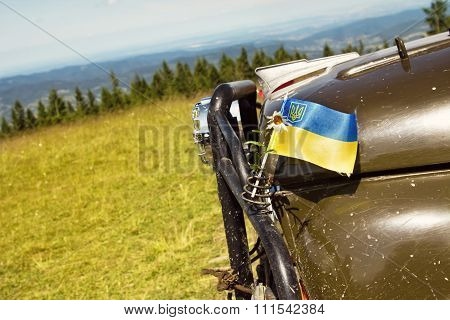 Ukrainian Flag On A Car