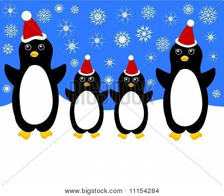 Christmas penguin family