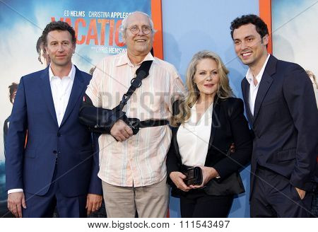Jonathan Goldstein, John Francis Daley, Chevy Chase and Beverly D'Angelo at the Los Angeles premiere of 'Vacation' held at the Regency Village Theatre in Westwood, USA on July 27, 2015.