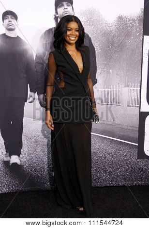 Gabrielle Union at the Los Angeles premiere of 'Straight Outta Compton' held at the Microsoft Theatre in Los Angeles, USA on August 10, 2015.