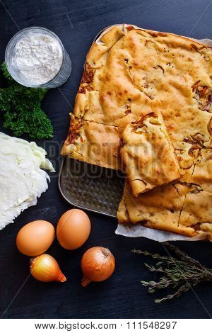 a pie with cabbage.top view