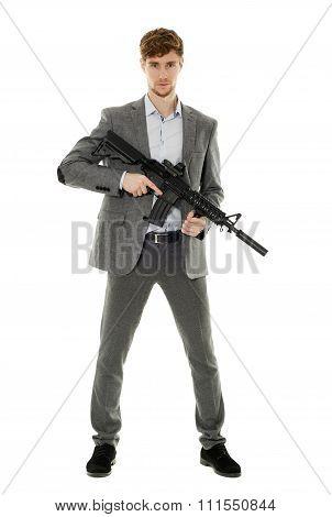 Young Man Using Machine Gun