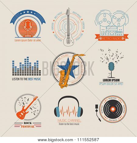 Music logos and badges. Graphic template