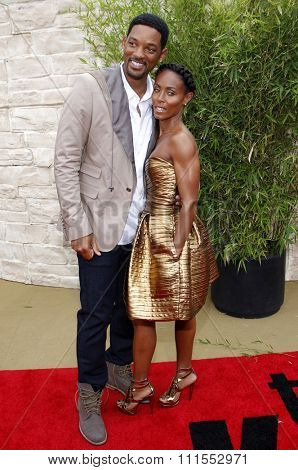 Will Smith and Jada Pinkett Smith at the Los Angeles premiere of 'The Karate Kid' held at the Mann Village Theater in Westwood, USA on June 7, 2010.