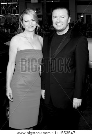Jane Fallon and Ricky Gervais at the Los Angeles premiere of 'The Invention of Lying' held at the Grauman's Chinese Theater in Hollywood, USA on September 21, 2009.