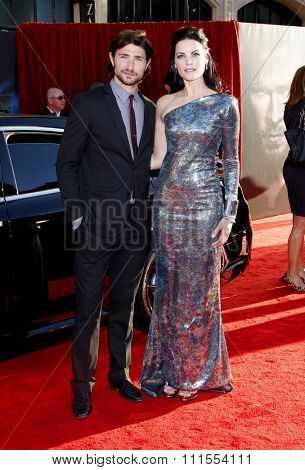 Matt Dallas and Jaimie Alexander at the Los Angeles premiere of 'Thor' held at the El Capitan Theater in Hollywood, USA on May 5, 2011.