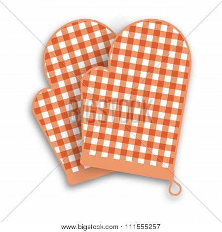 Red kitchen gloves