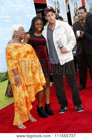 Luenell Campbell and Adam Sandler at the Los Angeles premiere of 'That's My Boy' held at the Westwood Village Theater in Los Angeles, USA June 4, 2012.