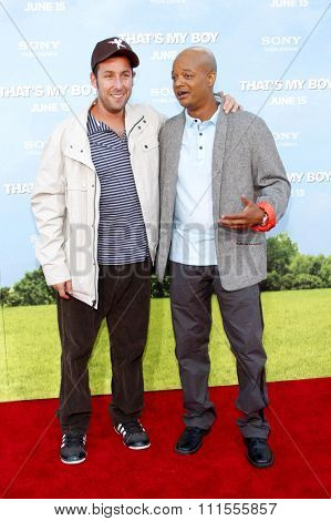 Todd Bridges and Adam Sandler at the Los Angeles premiere of 'That's My Boy' held at the Westwood Village Theater in Los Angeles, USA June 4, 2012.