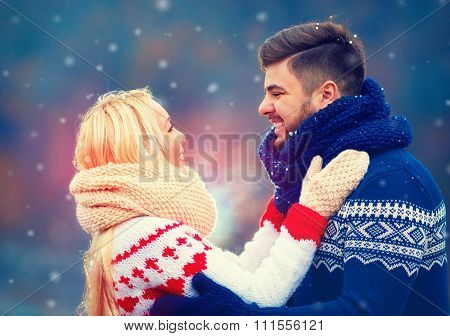 Happy Couple In Love In Winter