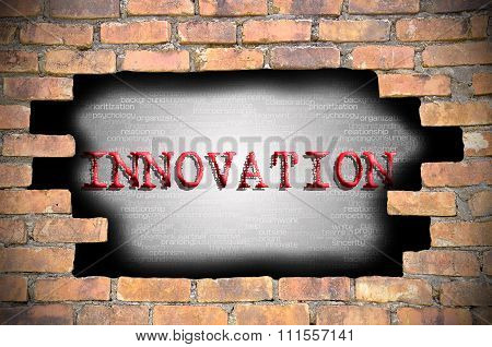 Hole At The Brick Wall With Inovation Caption Inside