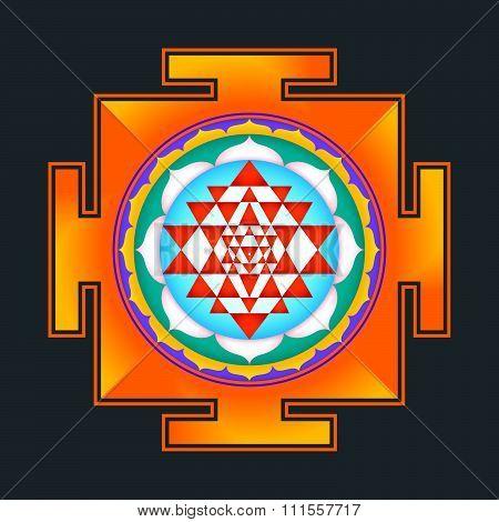 Colored Sri Yantra Illustration.