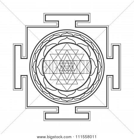 Monocrome Outline Sri Yantra Illustration.