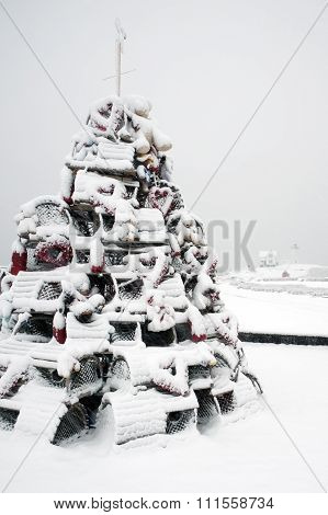 Lobster Trap Christmas Tree In Snowstorm