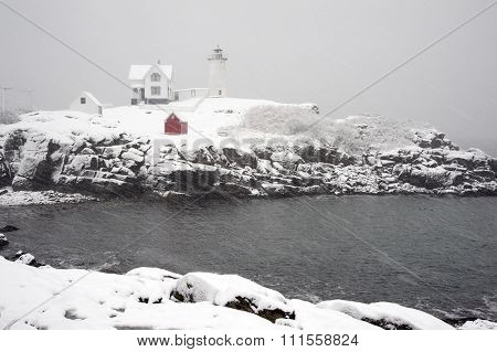 Snowstorm At Cape Neddick Lighthouse In Maine