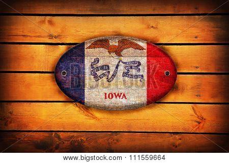 Wooden Iowa Flag.