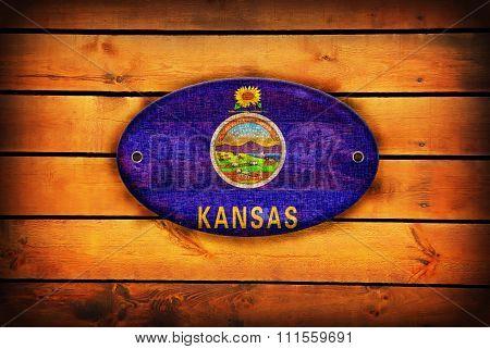 Wooden Kansas Flag.