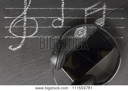 Music notes with  headphones