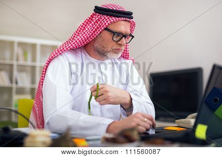 Arabian business man in his home office using computer