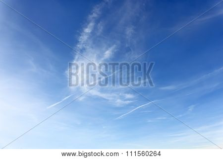 Amazing Cloudscape With Airplanes Tracks