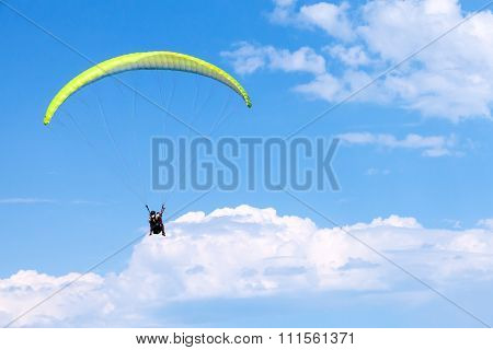 Paragliders In Blue Sky With Clouds, Tandem