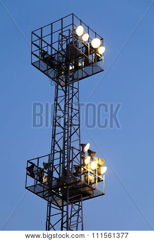 Industrial Light Mast With Glowing Lamps