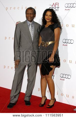 HOLLYWOOD, CA - NOVEMBER 01, 2009. Sidney Poitier and Sydney Tamiia Poitier at the AFI FEST 2009 Screening of 'Precious' held at the Grauman's Chinese Theater in Hollywood, USA on November 1, 2009.