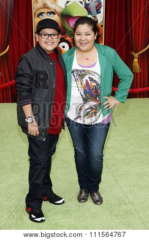 HOLLYWOOD, CA  - NOVEMBER 12, 2011. Rico Rodriguez and Raini Rodriguez at the World premiere of 'The Muppets' held at El Capitan Theater in Hollywood, USA on November 12, 2011.