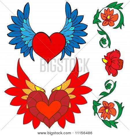 Stock vector : Valentine Set: Tattoo And Renaissance