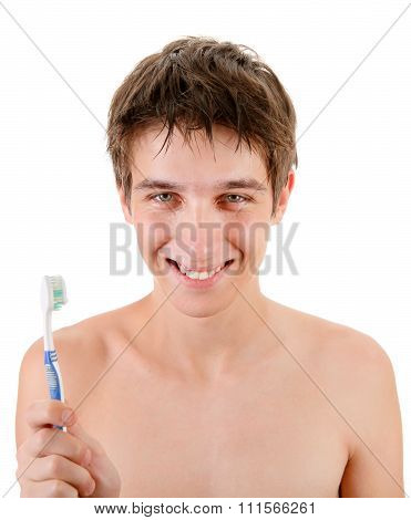 Young Man With Tooth Brush