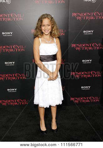 LOS ANGELES, CA - SEPTEMBER 12, 2012: Aryana Engineer at the Los Angeles premiere of 'Resident Evil: Retribution' held at the Regal Cinemas L.A. Live in Los Angeles, USA on September 12, 2012.